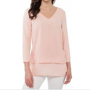 Michael Kors Multi Woven Layer Top- Dusty Coral